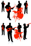 Live band playing music on white background Stock Images