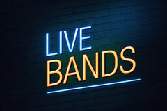 Live bands club concept neon sign Royalty Free Stock Photography