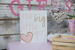 Live big little girl sigh. Baby shower. Time to celebrate outdoor party Stock Images