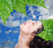 Live bio. Woman relaxing blue sky background with leaves Stock Photos