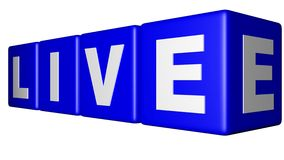 Live blue cubes. Four blue cubes with the word LIVE in white Royalty Free Stock Photo