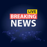 Live Breaking News headline in blue dotted world map background. Vector illustration Stock Photo