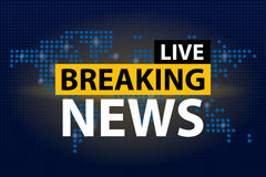 Live Breaking News headline in blue dotted world map background. Vector illustration royalty free illustration