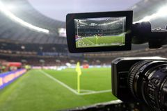 Live broadcast of a football match. The view through the camera screen Stock Images