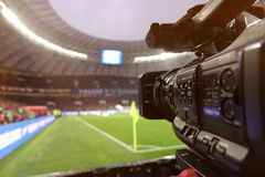 Live broadcast of a football match. The view through the camera screen Royalty Free Stock Photo