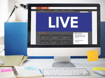 Live Broadcast Media News Online Concept Royalty Free Stock Photography