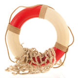 Live buoy with fishing net. Isolated over white background stock photo