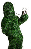 Live bush pose holding garden watering can, isolated on a white background. Studio photo. Stock Photography