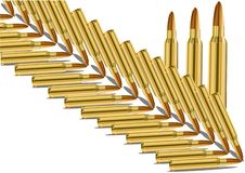Live cartridge.Vector image of a set of ammunition. Illustration of live ammunition on white background. The template is perfect for postcards on February 23 royalty free illustration