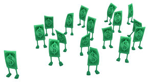 Live Cash. Dollar money symbol cartoon characters, 3d illustration, horizontal, isolated, over white Royalty Free Stock Photography