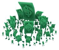 Live Cash, Down Size. Dollar money symbol cartoon characters diminishing sizes crowd, 3d illustration, horizontal, isolated, over white vector illustration