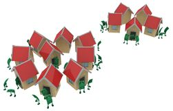 Live Cash, Haus-Nachbarn stock abbildung