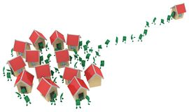 Live Cash, Haus-Nachbarn weit lizenzfreie abbildung