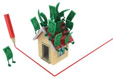 Live Cash, House Red Line. Dollar money symbol cartoon characters house red line corner draw, 3d illustration, horizontal, isolated, over white royalty free illustration