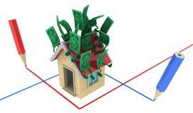 Live Cash, Huis Planning royalty-vrije illustratie