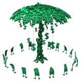 Live Cash, Money Tree. Dollar money symbol cartoon characters circling money tree, 3d illustration, horizontal, isolated, over white Stock Photo