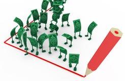 Live Cash, rote Linie Ecke des abgehobenen Betrages lizenzfreie abbildung