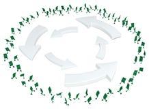 Live Cash, Roundabout. Dollar money symbol cartoon characters running roundabout, 3d illustration, horizontal, isolated, over white royalty free illustration