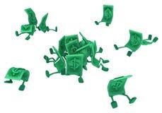 Live Cash, Sitting. Dollar money symbol cartoon characters sitting, 3d illustration, horizontal, isolated, over white Stock Photography