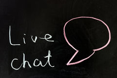 Live chat. Chalk drawing - Live chat concept Stock Image