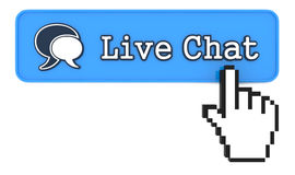 Live Chat Button with  Hand Shaped mouse Cursor Royalty Free Stock Photography