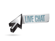 Live chat cursor paper sign illustration design Royalty Free Stock Photography