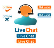 Live chat customer support. Live chat website elements for customer support Stock Photo
