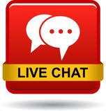 Live chat icon web button red. Vector illustration isolated on white background - live chat icon web button red royalty free illustration