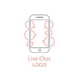 Live chat logotype with outline black smartphone stock illustration