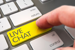 Live Chat - Modern Laptop Keyboard Concept. 3D. Royalty Free Stock Images