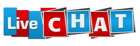 Live Chat Red Blue Squares barre horizontal Photo stock