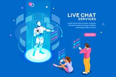 Live Chat Services Isometric Concept royalty illustrazione gratis