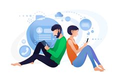Live chat with smartphone, online communication people royalty free illustration