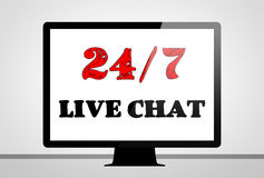 Live chat support. Computer illustration concept Royalty Free Stock Images