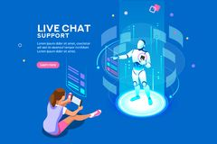 Live Chat Support Isometric Concept vector illustration