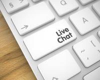 Live Chat - text på det vita tangentbordtangentbordet 3d Royaltyfri Bild