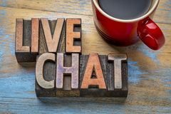Live chat word abstract in wood type Royalty Free Stock Photos