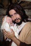 Closeup Joseph and baby Jesus Royalty Free Stock Photo