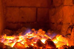 Live coals. In the hot brick stove Royalty Free Stock Image