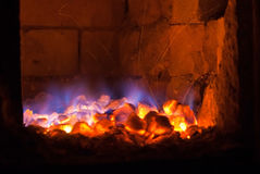 Live coals. In the hot brick stove Stock Images