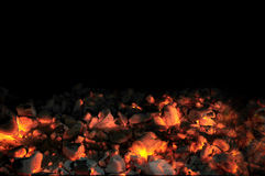Live Coals With Black Background Royalty Free Stock Images