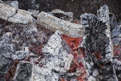 Live coals. fire. red and black Stock Image