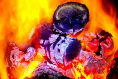 Live coals. In the furnace Stock Photo