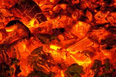 Live coals. In the furnace Stock Photography