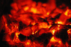 Live coals in the oven Stock Image