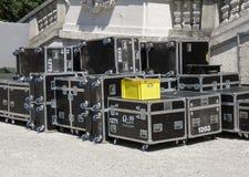 Live concert equipment. VIENNA, AUSTRIA - CIRCA MAY 2011: live concert equipment near the stage stock image