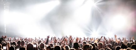 Live concert with raising hands. stock photo