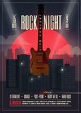 Live Concert Rock Night Poster, aviador, molde para seu evento, concerto da bandeira, partido, mostra, festival Ilustração do vet ilustração stock