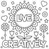 Live creatively. Coloring page. Vector illustration. Live creatively. Coloring page. Black and white vector illustration Stock Photos