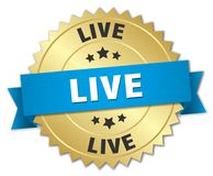 Live 3d gold badge. With blue ribbon Stock Image